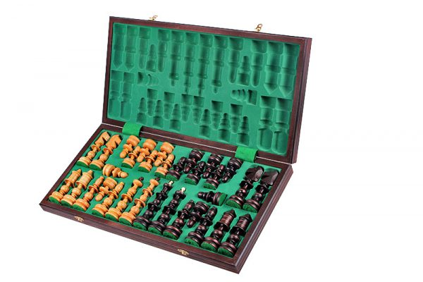 wooden old polish chess set