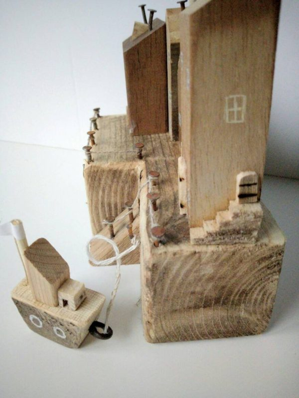 wooden houses with boats for kids