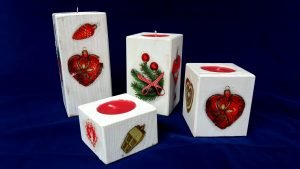 wooden candle holders for christmas