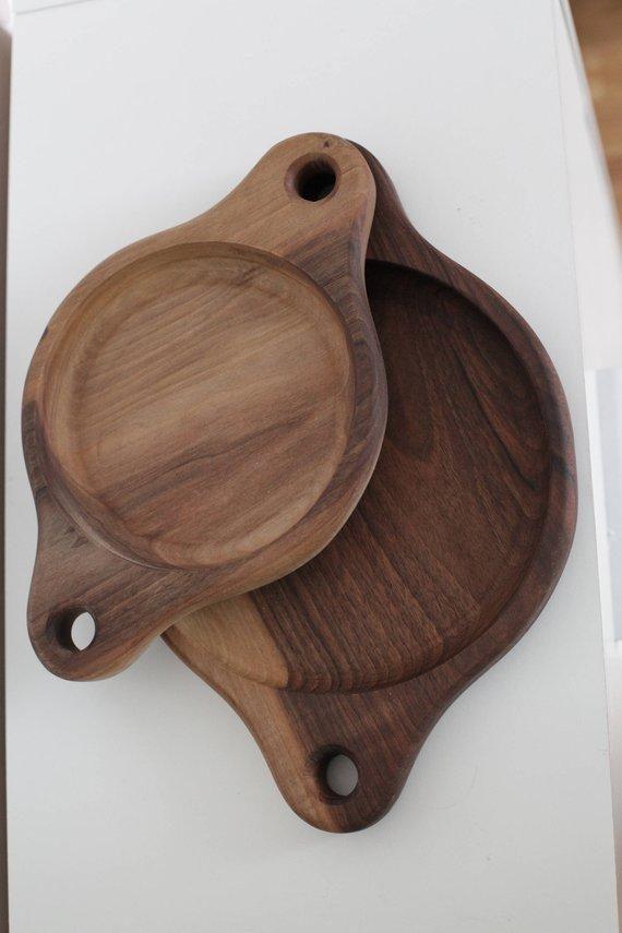 wooden serving trays set
