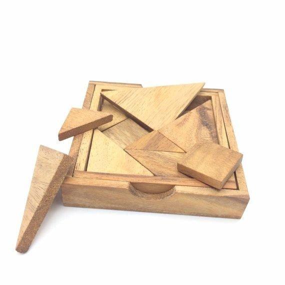 handmade wooden puzzle 7 pcs