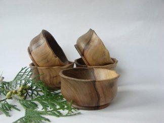 set of walnut wood bowls