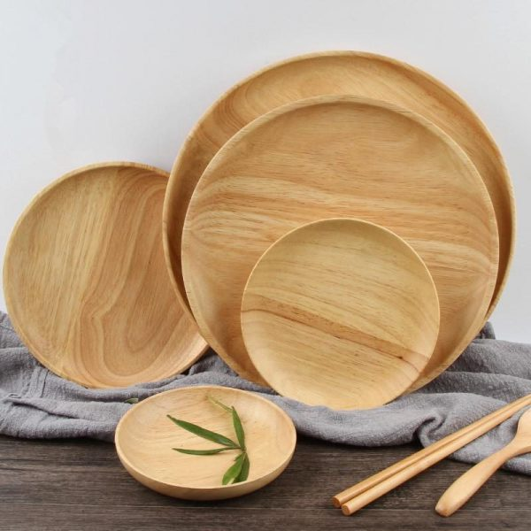 Set of Rubber Wood Plates