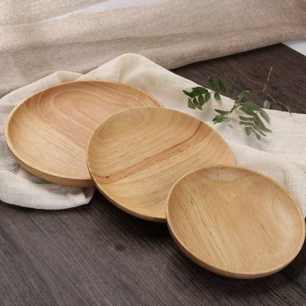wooden plates and dinneware