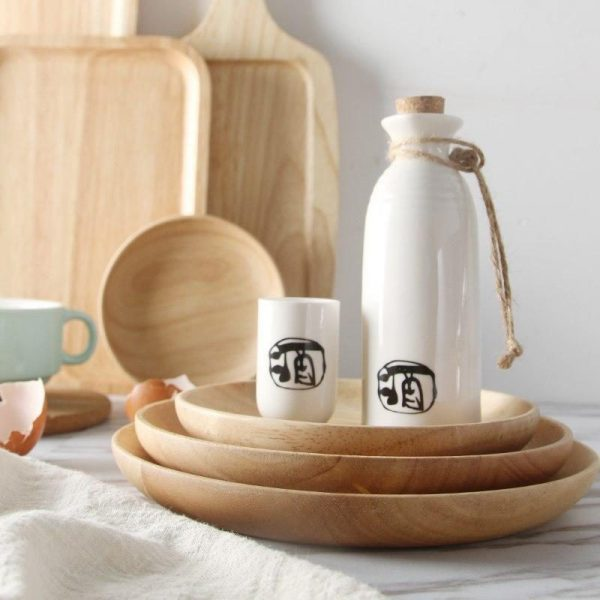 handmade rubber wood plates