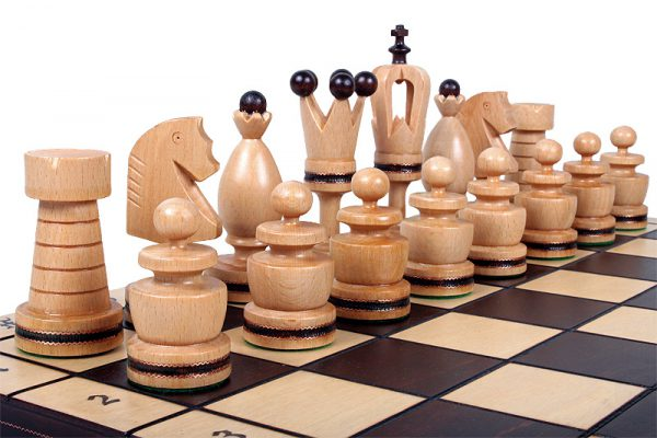 wooden gothic chess set