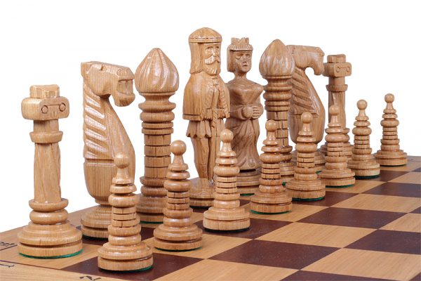 handmade wooden medieval chess set