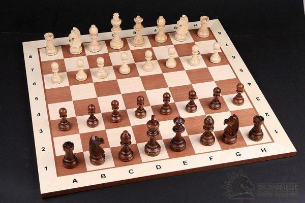 Schachbrett Mahagoni mit hellem Rand 48 cm
