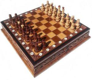 handmade wooden chess set alder wood