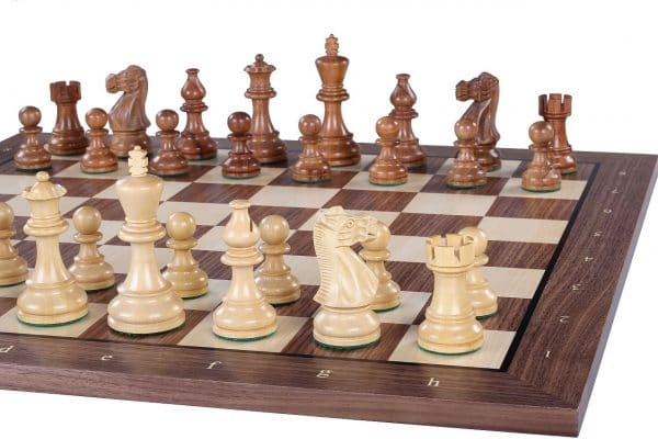 walnut chess board with black stripe